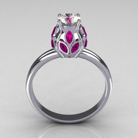 Classic 14K White Gold Marquise Pink Sapphire 0.5 CT Round Zirconia Tulip Ring R89-14KWGCZPS-1