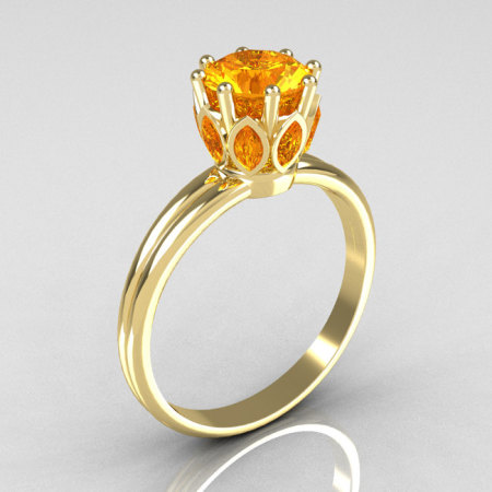 Classic 10K Yellow Gold Marquise and Round Yellow Sapphire Stone Solitaire Ring R90-10KWGYS-1