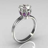 Classic 10K White Gold Marquise Lilac Amethyst 1.0 CT Round Zirconia Solitaire Ring R90-10KWGCZLA-1