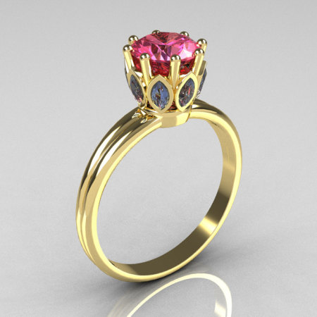 Modern Vintage 18K Yellow Gold Round and Marquise Blue and Rose Topaz Solitaire Ring R90-18KYGBRT-1