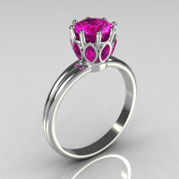 Classic 10K White Gold Marquise and Round Pink Sapphire Solitaire Ring R90-10KWGPS-1