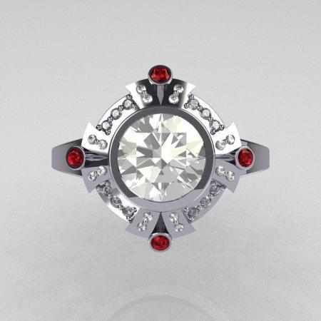 Modern Edwardian 950 Platinum 1.0 Carat Round Zirconia Pave Diamond Red Garnet Engagement Ring R93-PLATDRRCZ-1
