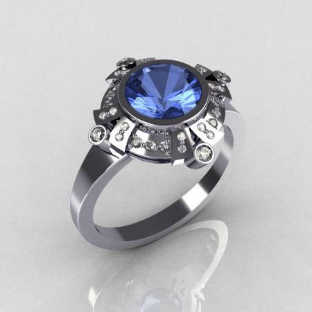 Classic 10K White Gold 1.0 Carat Round Blue Topaz Pave Diamond Engagement Ring R93-10WGDBT-1