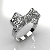 Classic Style 14 Karat White Gold Pave Diamond Ribbon Ring R92-14KWGD-2
