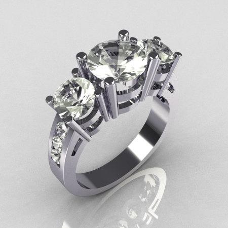 Contemporary 14K White Gold Three Stone 2.25 Carat Total Round Zirconia Accent Diamond Bridal Ring R94-14WGDCZ-1
