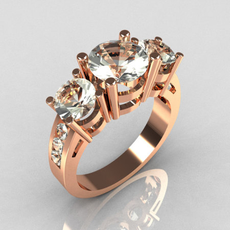Contemporary 14K Rose Gold Three Stone 2.25 Carat Total Round Zirconia Accent Diamond Bridal Ring R94-14RGDCZ-1