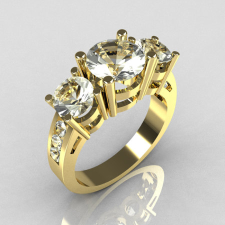 Contemporary 18K Yellow Gold Three Stone 2.25 Carat Total Round Zirconia Accent Diamond Bridal Ring R94-18YGDCZ-1