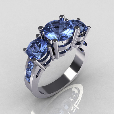 Contemporary 14K White Gold Three Stone 2.25 Carat Total Round Blue Topaz Bridal Ring R94-14WGBT-1