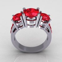 Contemporary 18K White Gold Three Stone 2.25 Carat Total Round Red Ruby Bridal Ring R94-18WGAL-1