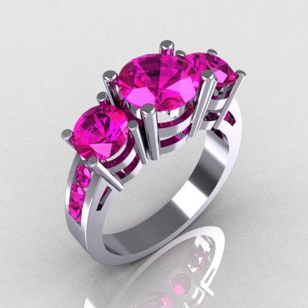 Modern 10K White Gold Three Stone 2.25 Carat Total Round Pink Sapphire Bridal Ring R94-10KWGPS-1