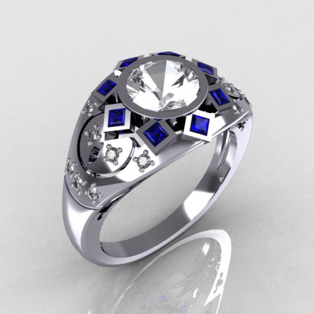 Modern Edwardian 950 Platinum 1.0 Carat Round Diamond Blue Sapphire Ring Y258-PLATDBS-1