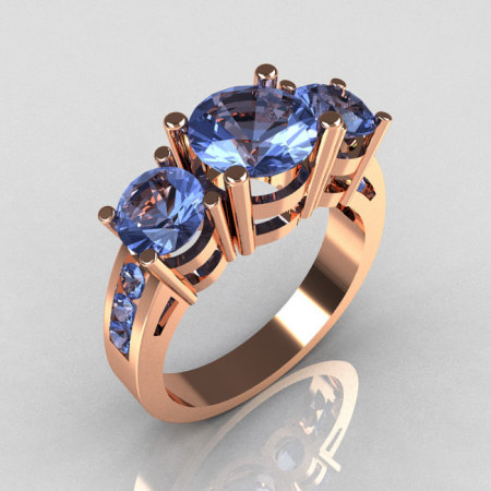 Contemporary 10K Rose Gold Three Stone 2.25 Carat Total Round Blue Topaz Bridal Ring R94-10RGDBT-1