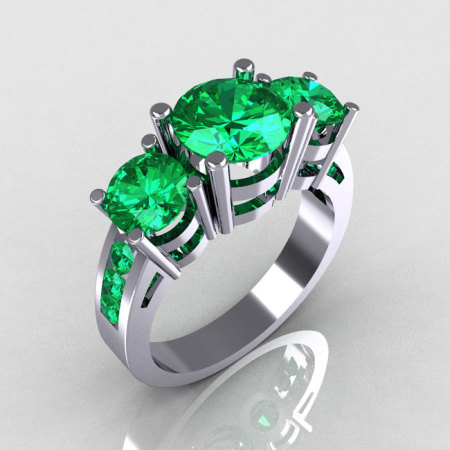 Modern 950 Platinum Gold Three Stone 2.25 Carat Total Round Emerald Bridal Ring R94-PLATEM-1