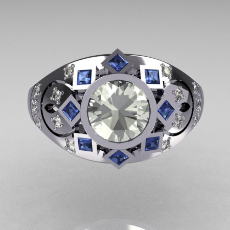 Modern Edwardian 950 Platinum 1.0 Carat Round Zirconia Pave Diamond Blue Topaz Ring Y258-PLATCZDBT-1