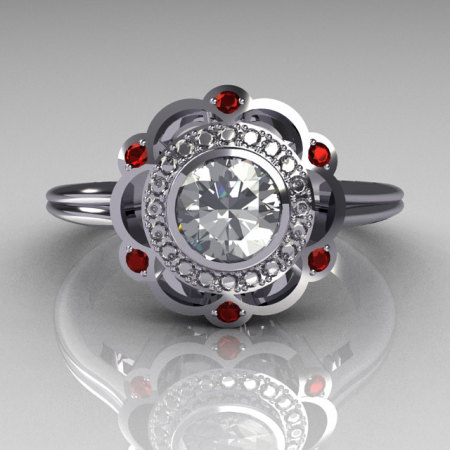 Classic 950 Platinum 0.50 Carat Round SI-2 G-I Diamond Red Garnet Engagement Ring R70-PLATGDRR-1