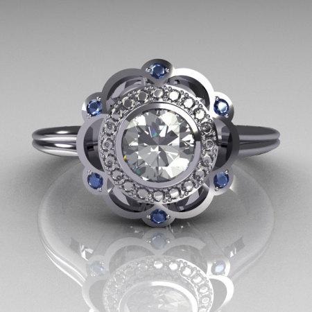 Classic 950 Platinum 0.50 Carat Round SI-2 G-I Diamond Blue Topaz Engagement Ring R70-PLATGDBT-1