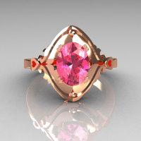 Modern Classic 14K Rose Gold 1.5 Carat Oval Rose Topaz Wedding Ring R73-1-14KRGRT-1
