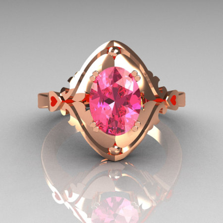 Modern Classic 14K Rose Gold 1.5 Carat Oval Rose Topaz Wedding Ring R73-1-14KRGRT-1