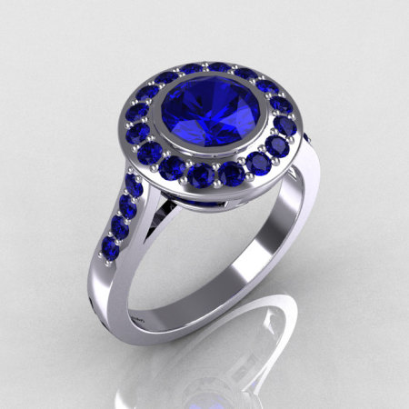 Classic Brilliant Style 14K White Gold 1.0 Carat Round Sapphire Bead-Set Border Engagement Ring R42-14KWGBS-1