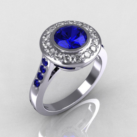 Brilliant Style 10K White Gold 1.0 Carat Round Blue Sapphire Diamond Bead-Set Border Engagement Ring R42-10KWGDBSS-1