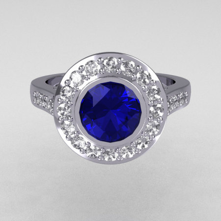Classic Brilliant Style 950 Platinum 1.0 Carat Round Sapphire Accent Diamond Bead-Set Border Engagement Ring R42-PLATDBS-1