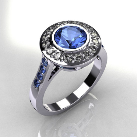 Classic Brilliant Style 10K White Gold 1.0 Carat Round Blue Topaz Diamond Bead-Set Border Engagement Ring R42-10KWGDBTT-1