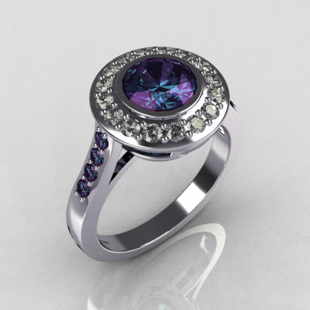 Classic Brilliant Style 10K White Gold 1.0 Carat Round Alexandrite Diamond Bead-Set Border Engagement Ring R42-10KWGDALL-1