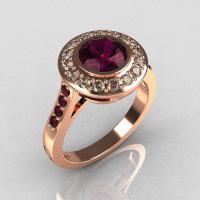 Classic Brilliant Style 14K Pink Gold 1.0 Carat Round Amethyst Diamond Bead-Set Border Engagement Ring R42-14KPGDAMM-1