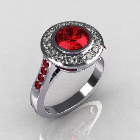 Classic Brilliant Style 14K White Gold 1.0 Carat Round Ruby Diamond Bead-Set Border Engagement Ring R42-14KWGDRRR-1