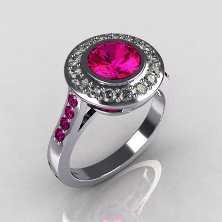 Classic Brilliant Style 10K White Gold 1.0 Carat Round Pink Sapphire Diamond Bead-Set Border Engagement Ring R42-10KWGDPSS-1