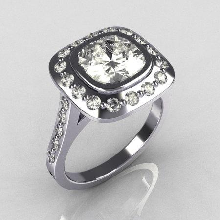 Classic Legacy Style 950 Platinum 2.0 Carat Cushion Cut CZ Accent Diamond Engagement Ring R60-PLATDCZ-1