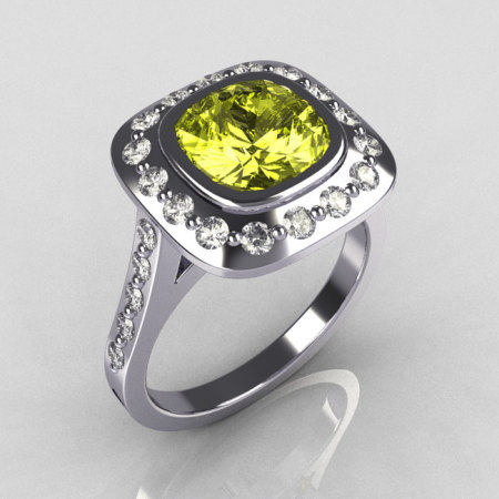 Classic Legacy Style 14K White Gold 2.0 Carat Cushion Cut Yellow Topaz Diamond Engagement Ring R60-14KWGDYT-1