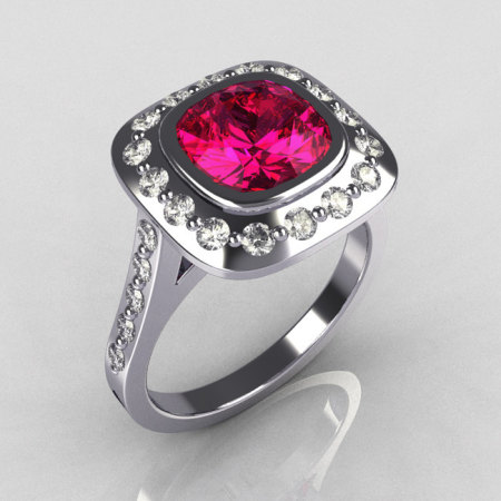 Classic Legacy 14K White Gold 2.0 Carat Cushion Cut Pink Sapphire Diamond Engagement Ring R60-14KWGDPS-1