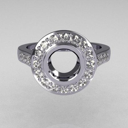 Classic Brilliant Style 10K White Gold 1.0 Carat Round Semi Mount Accent Diamond Bead-Set Border Engagement Ring R42-10KWGDSEMI-1