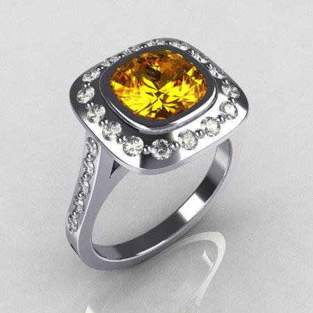 Classic Legacy Style 14K White Gold 2.0 Carat Cushion Cut Yellow Sapphire Diamond Engagement Ring R60-14KWGDYS-1