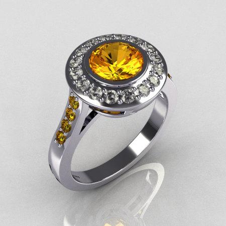 Classic Brilliant Style 10K White Gold 1.0 Carat Round Yellow Sapphire Diamond Bead-Set Border Engagement Ring R42-10KWGDYSS-1