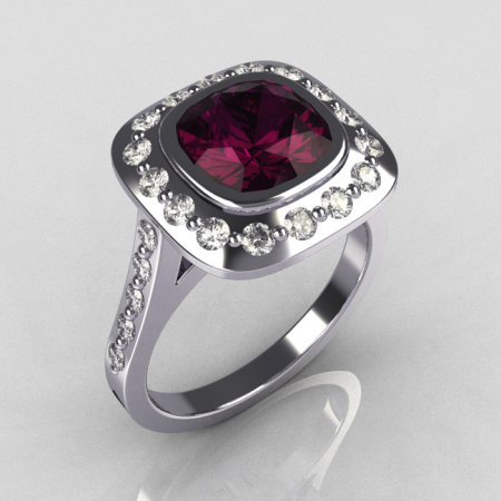 Classic Legacy Style 14K White Gold 2.0 Carat Cushion Cut Amethyst Diamond Engagement Ring R60-14KWGDAM-1
