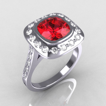 Classic Legacy Style 10K White Gold 2.0 Carat Cushion Cut Ruby Accent Diamond Engagement Ring R60-10KWGDR-1