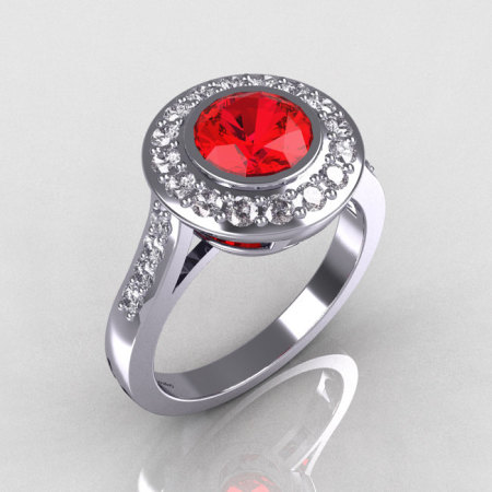 Classic Brilliant Style 950 Platinum 1.0 Carat Round Ruby Accent Diamond Bead-Set Border Engagement Ring R42-PLATDR-1