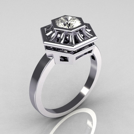 Classic Japan Style 10K White Gold 0.50 Carat Round CZ Solitaire Ring R97-10KWGCZ-1