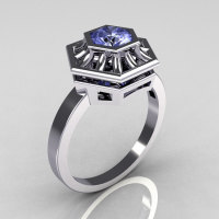 Classic Japan Style 10K White Gold 0.50 Carat Round Blue Topaz Solitaire Ring R97-10KWGBT-1