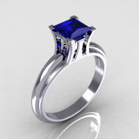 Modern Italian 10K White Gold 1.0 Carat Princess Blue Sapphire Solitaire Ring R98-10KWGBS-1
