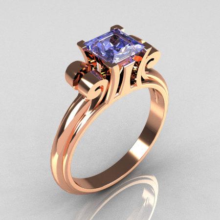 Modern Italian 14K Pink Gold 1.0 Carat Princess Blue Topaz Solitaire Ring R99-14KPGBT-1