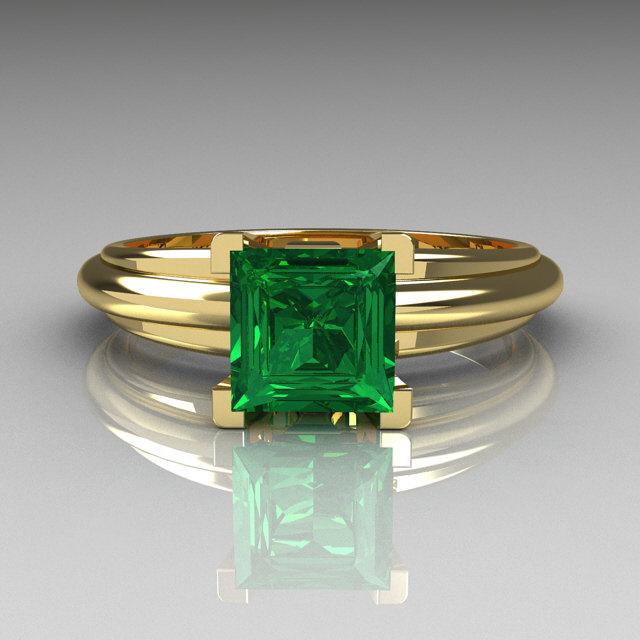 Modern Italian 14k Yellow Gold 1 0 Carat Princess Cut Emerald Solitaire Ring R98 14kygem