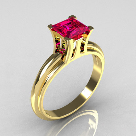Modern Italian 18K Yellow Gold 1.0 Carat Princess Cut Pink Sapphire Solitaire Ring R98-18KYGPS-1