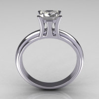 Modern Italian 10K White Gold 1.0 Carat Princess CZ Solitaire Ring R98-10KWGCZ-1