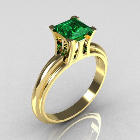 Modern Italian 14K Yellow Gold 1.0 Carat Princess Cut Emerald Solitaire Ring R98-14KYGEM-1
