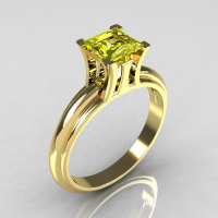 Modern Italian 14K Yellow Gold 1.0 Carat Princess Cut Citrine Solitaire Ring R98-14KYGCI-1