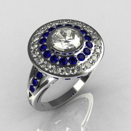 Modern Classic 18K White Gold 1.0 Carat Round CZ Blue Sapphire Diamond Bead-Set Engagement Ring R100-18KWGCZDBSS-1