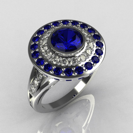 Modern Classic 18K White Gold 1.0 Carat Round Blue Sapphire Diamond Bead-Set Engagement Ring R100-18KWGDBSS-1